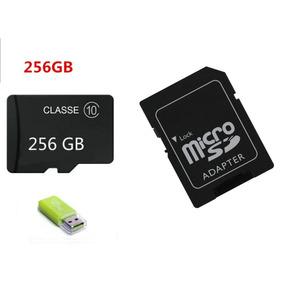 Pendrive 3 Em 1 Micro Sd 256 Gb Adaptador E Leitor + Brinde