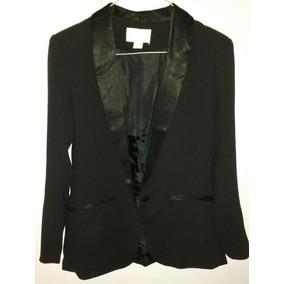 Saco / Blazer H&m Negro Con Solapa Y Bolsillos Rasados