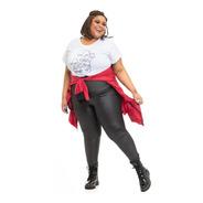 Legging Plus Size Joana Dark Glossy Preta By Ju Romano