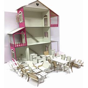 Casinha Para Boneca Barbie + 22 Moveis Branca + Color