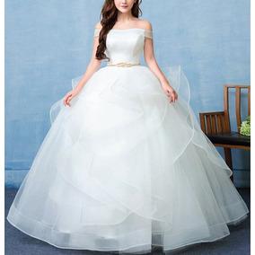 Vestido De Novia Princesa Incluye Cinturón Dorado Y Aro Flex