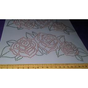 Aplique Rosas Rojas Termoadhesivo Pega Con Plancha Strass