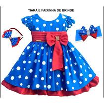 Vestido Festa Infantil Poa Galinha Pintadinha Com Tiara