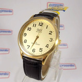 Relógio Masculino Dourado Pulseira Couro Q&q Citizen Quartz