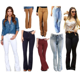 Kit C/ 02 Calças Flare Jeans Cintura Alta Hot Pant Feminina