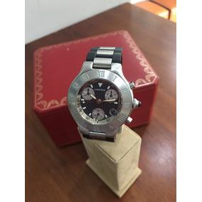 Reloj Cartier Chronoscaph 21 Caucho Negro 100% Auténtico