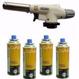Maçarico A Gás C/ Acendimento Automático + 4 Refil Grátis