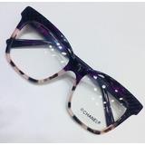 859767bc19a66 Óculos De Grau Modelo Quadrado Lilas Com Oncinha -cn709