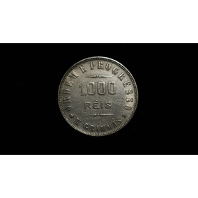 Moeda Antiga Prata 1000 Mil Réis X Grammas Brasil Ano 1912