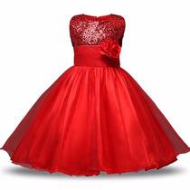 Vestido Para Princesas Com Lantejoula E Paête - 7 A 9 Anos.