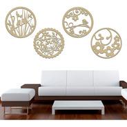 Quarteto Quadros Mandala Decorativo De Parede Mdf Crú 25x25