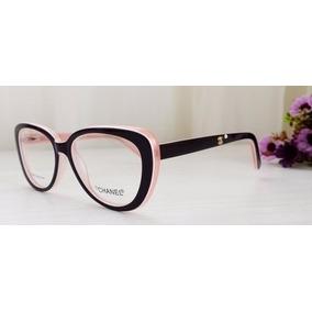 Armacao Oculos Chanel Feminino Gatinho Preto Rosa Importado. São Paulo ·  Armação Para Óculos De Grau Oval Gatinho Várias Cores+brinde 061642e9ad