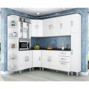 Cozinha Completa Paneleiro Armário Balcão 7 Peças Poliman