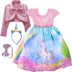Vestido Unicornio 4 Ao 16 Festa Infantil E Tiara E Bolero