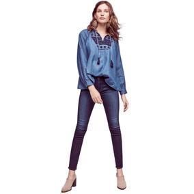 Diseño Camisa Bordada Algodón Fino Denim Blusa Mujer Verano