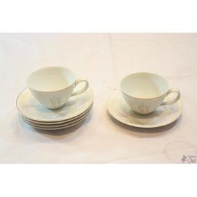 5 Xícaras De Chá C/ Pires Em Porcelana Renner Donaire Cchic