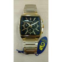 Relógio Original Atlantis Quadrado Dourado Frete Gratis