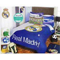 Real Madrid Edredon Mat Colcha Ninos 9pc Fubol Soccer Team