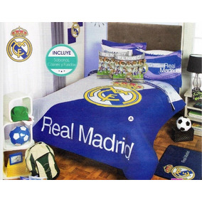 Real Madrid Edredon Mat Colcha Ninos 9pc Fubol Soccer Team