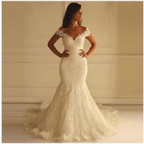 Vestido De Noiva Sereia Trompete Calda Longa Pedraria Luxo