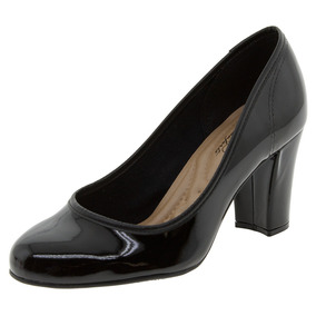 Sapato Feminino Salto Alto Verniz/preto Beira Rio - 4143208