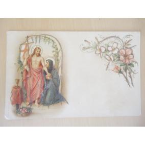 Postal Religioso Antigo Jesus E Maria Datado De 1911