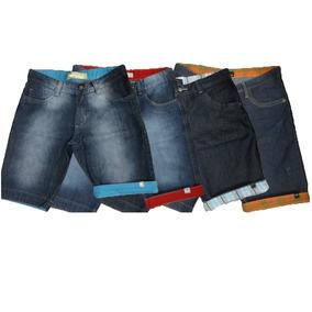 Bermuda Jeans Barra Dobrada Abercrombie Hollister Quiksilver ... edd485ff910ce
