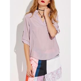 Camisa Feminina Cetim De Seda M/3/4 Fabricação Propria