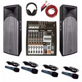 Equipo De Sonido Consola De 8 Potenciada 2 Columnas 4 Microf