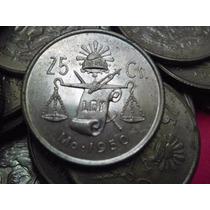Una Moneda 25 Centavos Balanza Plata Ley 0.300