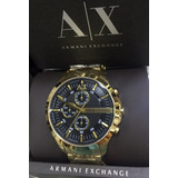 Relogio V5199 Armani Exchange Preto Dourado Ax2137 12x Sj
