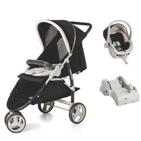 Kit Carrinho Bebê Cross Galzerano Com Bebê Conforto E Base
