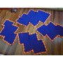 Tapete Em Barbante Crochê Azul/laranja (jogo 4 Peças)