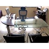 Mueble Para Oficina Con Vidrio De 19mm + Sillas Auxiliares