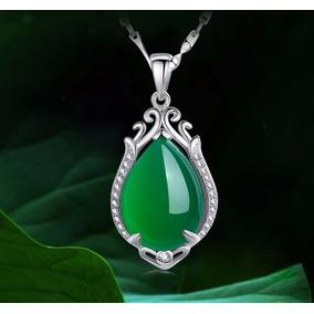 Collar Colgante Joyas ,calcedonia Verde