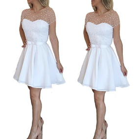 Vestido Noiva Gode Casamento Civil Rodado Renda Perolas