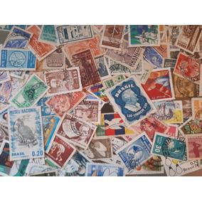 Lote Com 100 Selos Comemorativos Usados Diferentes - Brasil