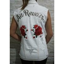 Colete Jeans Max Rasgado Lady Rock Bordado Rosas Blusa