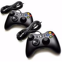 2 Controle Com Fio Xbox 360 E Pc Slim Joystick Original Feir