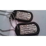 Juego De Dog Tags Militares Envio Gratis!! Compara Calidad!!