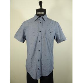 Camisa Color Azul Estampado Manga Corta Caballero Chevignon