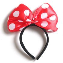 12 Diadema Moño De Tela C Luz Led Minnie Mimi Mouse Disney