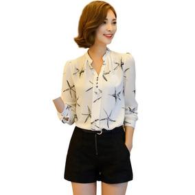 Camisa Blusa Feminina Social Chiffon Manga Longa Estampas