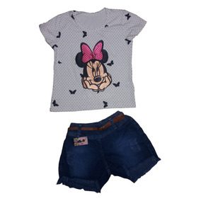 10 Conjuntos Femininos Infantil Blusa E Short Jeans 199,90