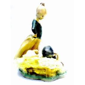 Figura Campestre Pareja Tipo Cerámica Antigua 1900s