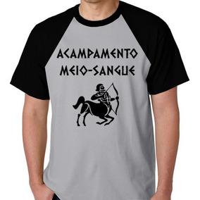 Camiseta Blusa Raglan Camisa Acampamento Meio Sangue Percy