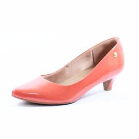 Sapato Bico Fino Verniz Scarpin Usaflex Salto Médio 0401