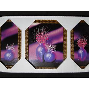 Quadro 03 Partes Figura Resinada Flores Orquidea Tulipa