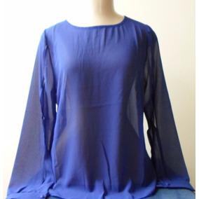 Blusa Feminina Crepe Azul, Mangas Abertas