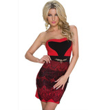 Moda Sexy Vestido Strapless Rojo Escote Con Encaje 22049